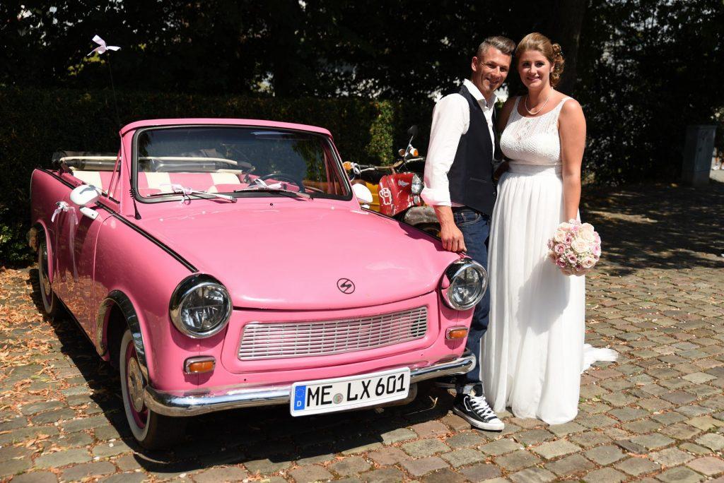 Trabbi Hochzeit pink