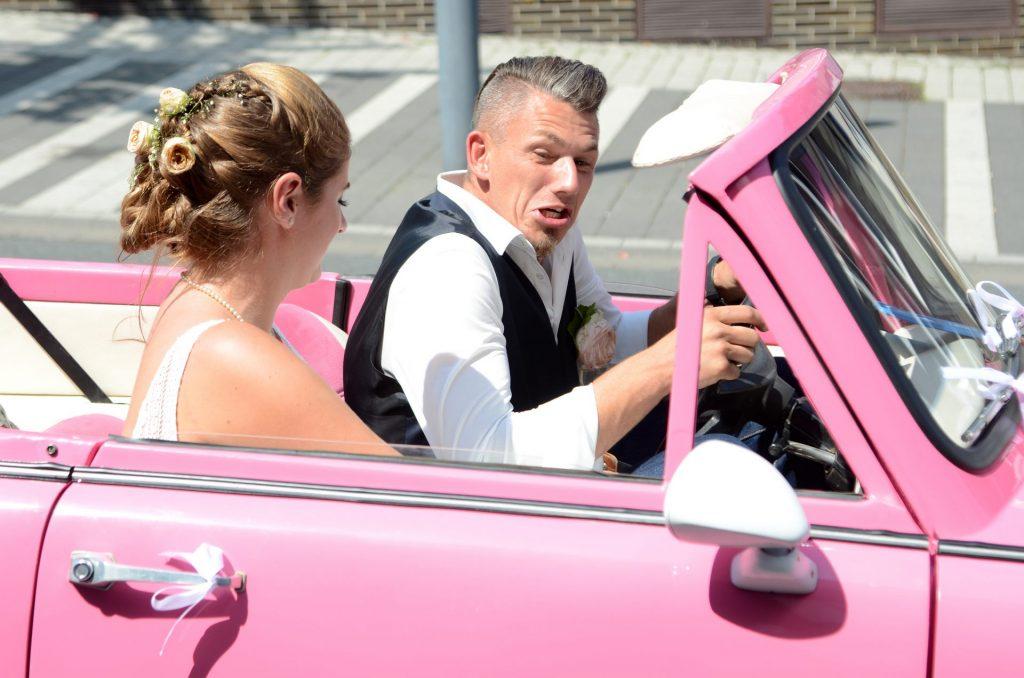 Trabbi Hochzeit pink huch